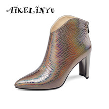 AIKELINYU Autumn Winter Fashion Sexy High Heel Genuine Leather Boots Women Stone Grained Ankle Lady Furry Solid Zip