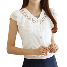 2017 NEW New fashion women summer Chiffon Lace Blouse falbala casual base lady shirt Hollow out flowers