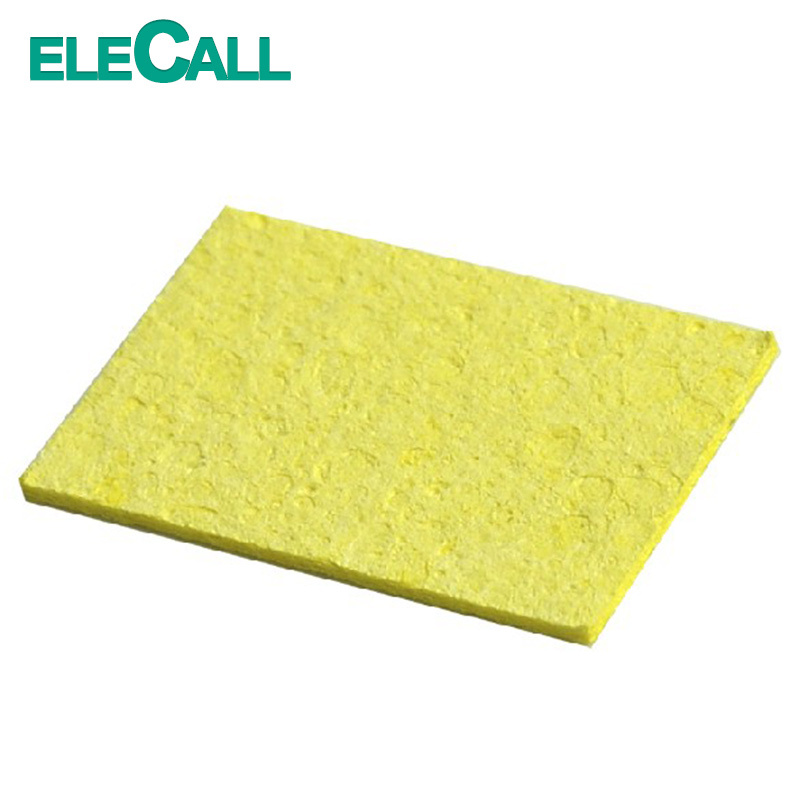 ELECALL 50pcs/Set High Temperature Enduring Square Shape Electric Welding Soldering Iron Cleaning Sponge Yellow Hot New Arrival 1pcs yl765 40w electric soldering iron soldering high quality heating diy tool parts lightweight soldering gun hot welding