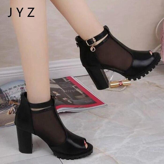 Mode Talons Été Femmes Peep Plate Aa0525 Lady Pompes forme Des Noir Hauts Chaussures Nouvelle Sandales Toe 006Wwzr