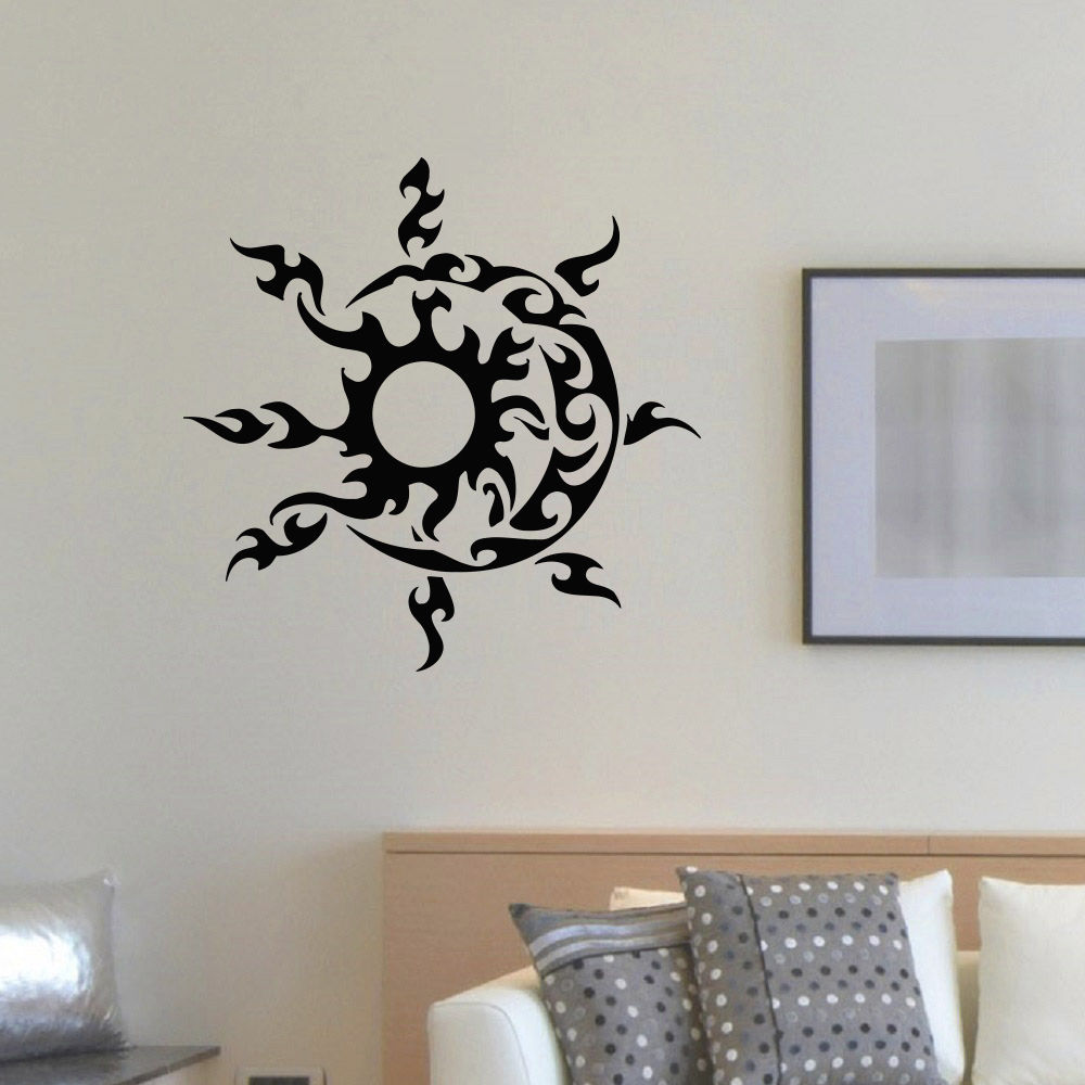 wall decal vinyl sticker sun and moon duet symbol ethnic decor in wall stickers from home. Black Bedroom Furniture Sets. Home Design Ideas