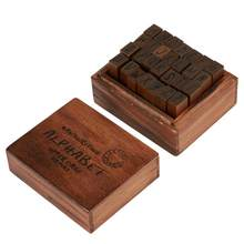 28PCS Vintage Wood Alphabet Letter Rubber Stamps Small Wooden Rubber Stamp Box(China)