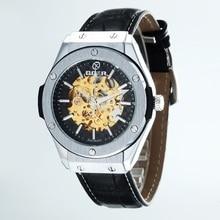 GOER бренд мужской движение Наручные часы Световой цифровой механические Кожаные мужские часы Автоматическая водонепроницаемый Скелет