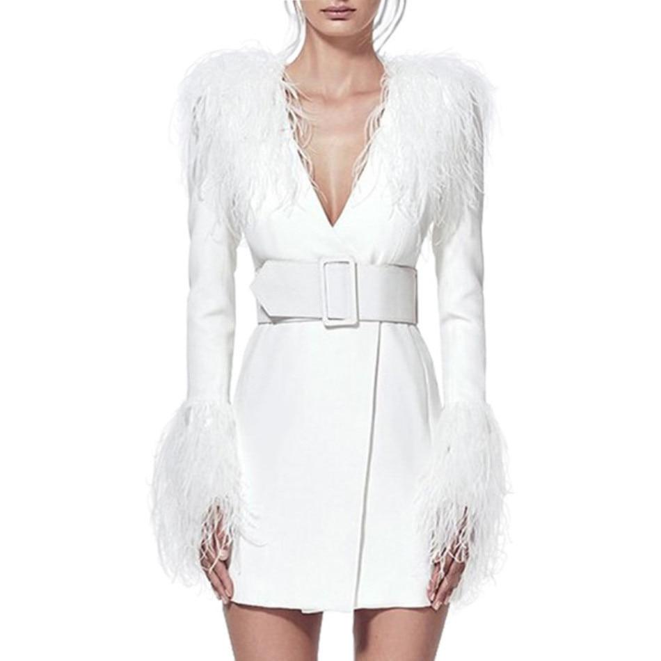 DressBird Women Dress Autumn Winter Long Sleeve Bodycon Vestidos Sexy Deep V Neck Feathers Slim Belt White Vestidos Verano Girl in Dresses from Women 39 s Clothing