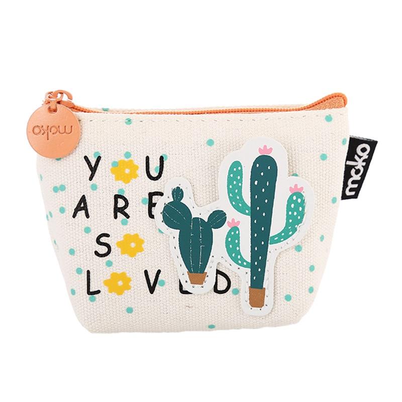 NIBESSER Cute Printed Women Bag Cactus Girls Purse For Coins Kawaii Bag Money Change Pouch Coin Key Holder Portable Sweet Wallet