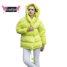 Winter women down coat fashion long sleeve loose thick warm parka casual with hood medium long white duck jacket casacos mulher