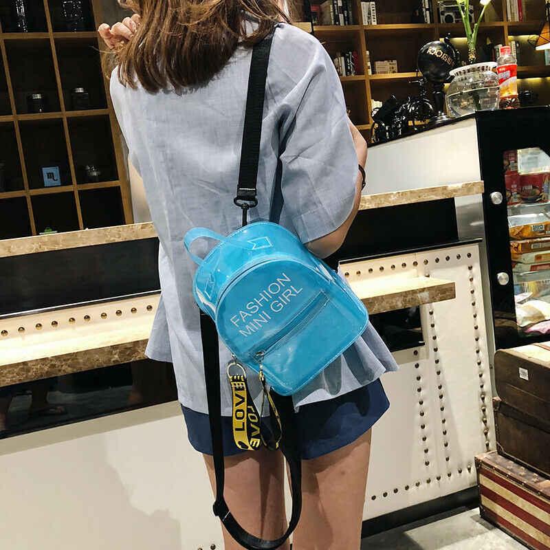 Модный женский мини-рюкзак для девочек, дорожная сумка из ПВХ, маленькая школьная сумка, черный, синий, белый, розовый