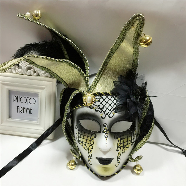 Handmade Full Face Phantom Ball Venetian Masquerade Mask Bells Cosplay Mardi Gras Party