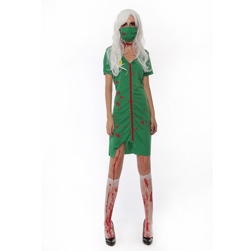 Adults Female Women Green Horror Blood Nurse Zombie Doctors Dress Stage Wear Horror Halloween Roleplay Makeup Cosplay Costume