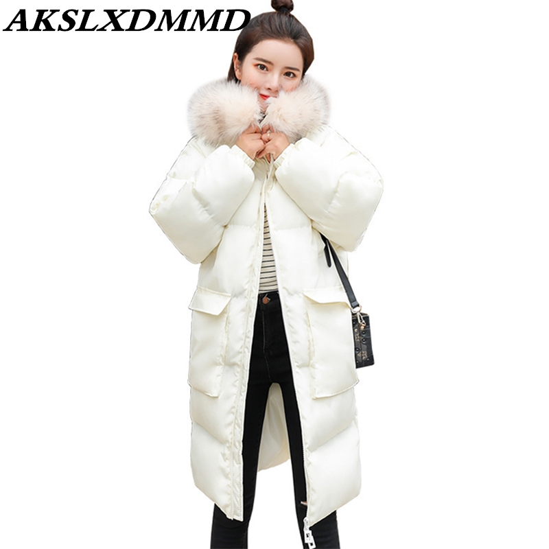 2019 New Hot Women Winter Jacket Warm Thicken Mid-length Down Cotton Coat Fashion Solid Hooded Fur Collar   Parka   Outerwear CW120