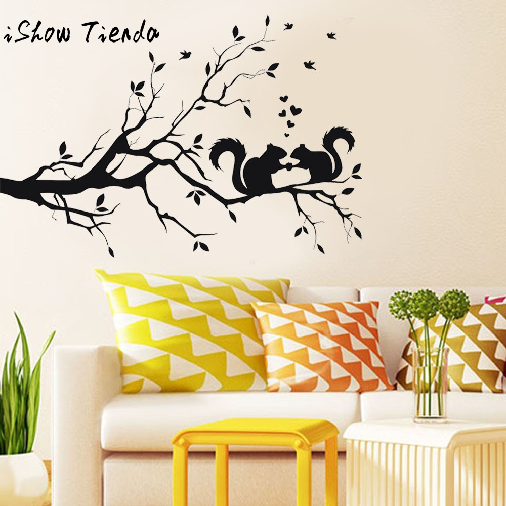 Online Shop Wall Sticker Animals Cats Art Decal Squirrel On Long ...