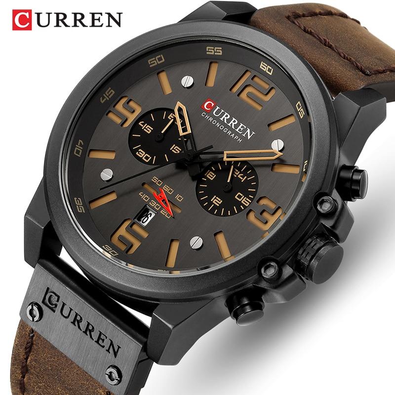 834f587c7d45 2019 nuevo reloj de los hombres de CURREN marca de lujo para hombre de  pulsera de cuarzo de cuero Hombre militar fecha deporte relojes reloj  Masculino