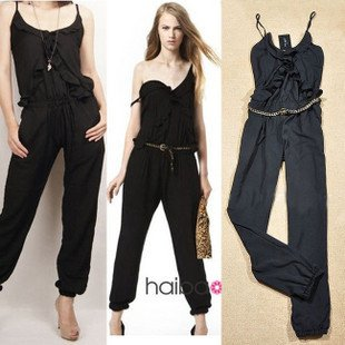 2012 Casual Jumpsuit Brand Women's Ladies' Black Spaghetti Sling ...