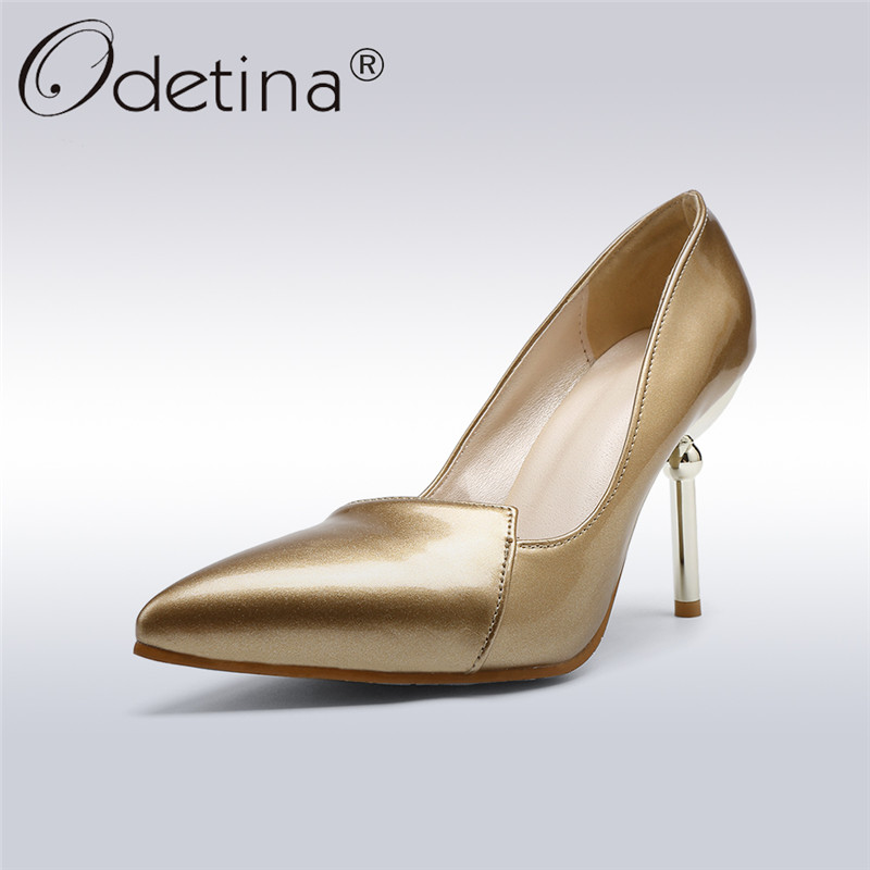 Odetina 2018 New Fashion Womens Sexy Pumps Pointed Toe High Heels Party Shoes Slip On Stilettos Gold And Silver Big Size 34-48 platform pumps fashion 2015 new shoes pumps pointed toe women pumps bowtie party slip on spool heels size 34 43