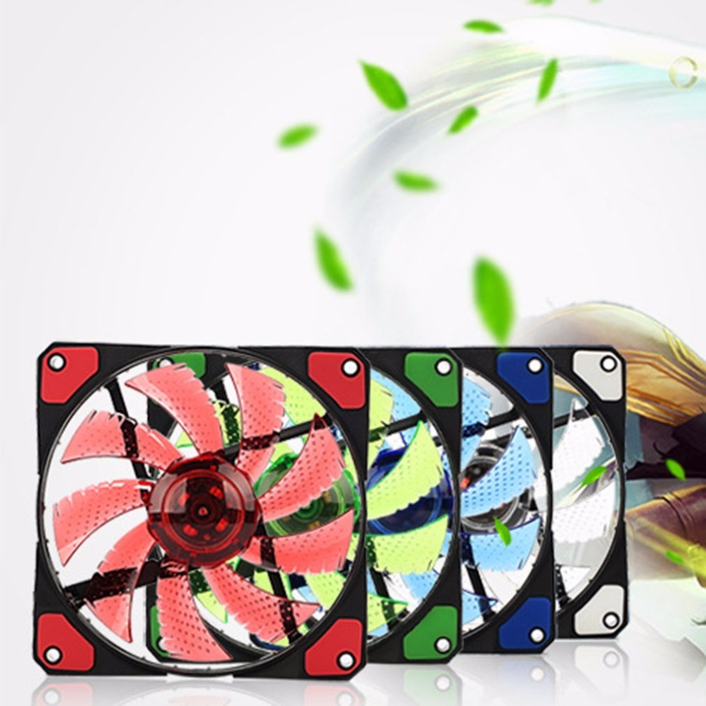 Купить с кэшбэком 120mm pc computer fan 15 Lights LED Cooler Cooling Fan Plastic 12V DC 4P 3P 120*120*25mm Easy Installed Colorful Computer Fan