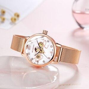 Image 2 - אופנה יוקרה שעון נשים אהבת דפוס אוטומטי מכאני שעונים מלא נירוסטה רוז זהב רשת חגורת גבירותיי שעון יד