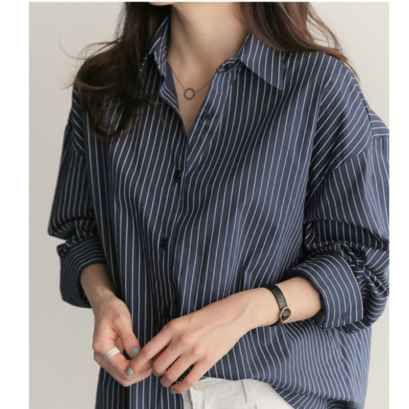 Striped Shirt Long Sleeve Womens Tops and Blouses Spring 2019 Turn Down Collar Office Shirts Plus Size Blusas Korean Fashion