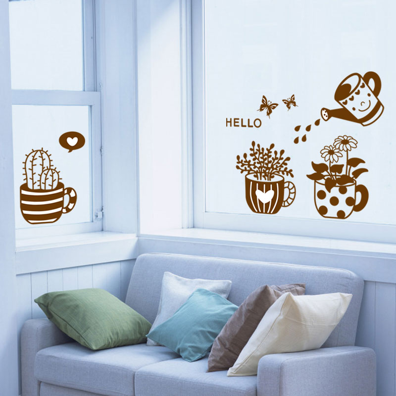 Beautiful flower pot plant diy hello butterfly home decal wall sticker living room window for Beautiful wall stickers for living room