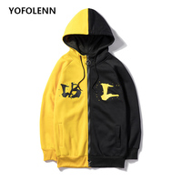Men's Hoodies Sweatshirts Plus Size Patchwork Contrasted Color Casual Hooded Solid Printed Shirt Men Pullover Street Wear