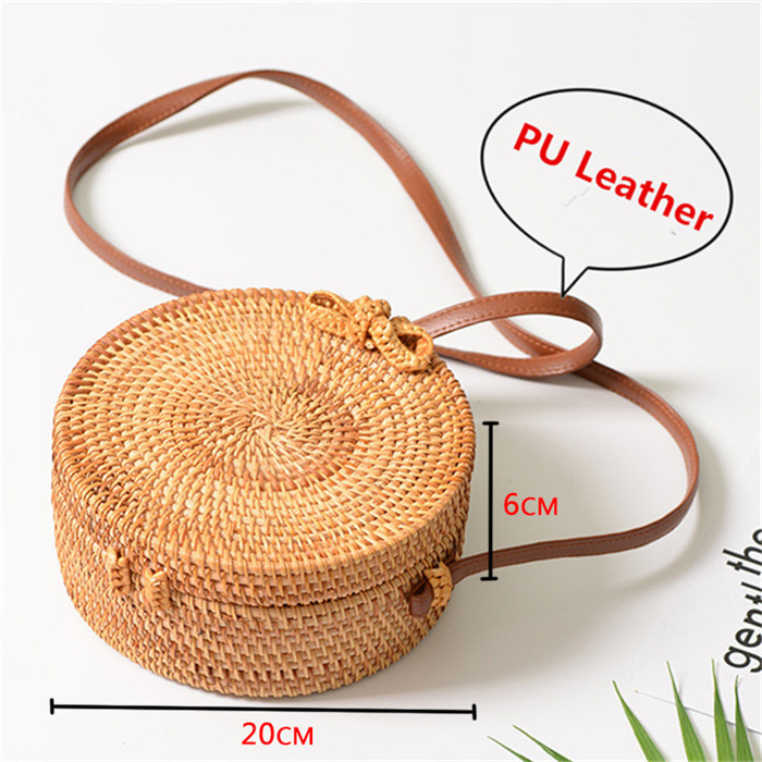 18 Round Straw Bags Women Summer Rattan Bag Handmade Woven Beach Cross Body Bag Circle Bohemia Handbag Bali 1