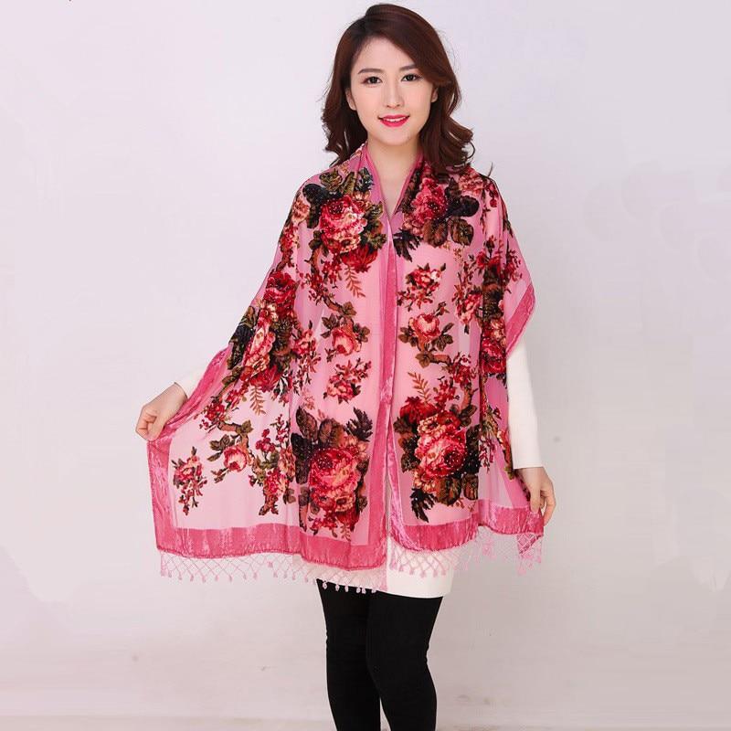 High Quality Flowers Chinese Female Velvet Silk Beaded Shawls Handmade Embroidery Scarves Scarf Long Fringe Pashmina StoleChal