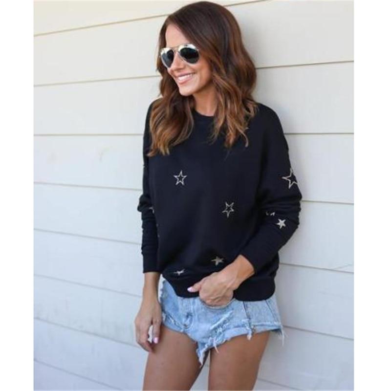 2017 Women Warm Sweater Autumn Winter Stars Cotton Loose Casual Pullovers O-neck Sweater