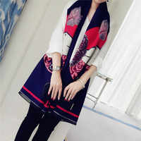 2016 Winter Women Scarf Luxury Chinese Style Doll pattern Bufandas Warm Cashmere Shawls Navy Blue New Oversized Lengthen Tippet