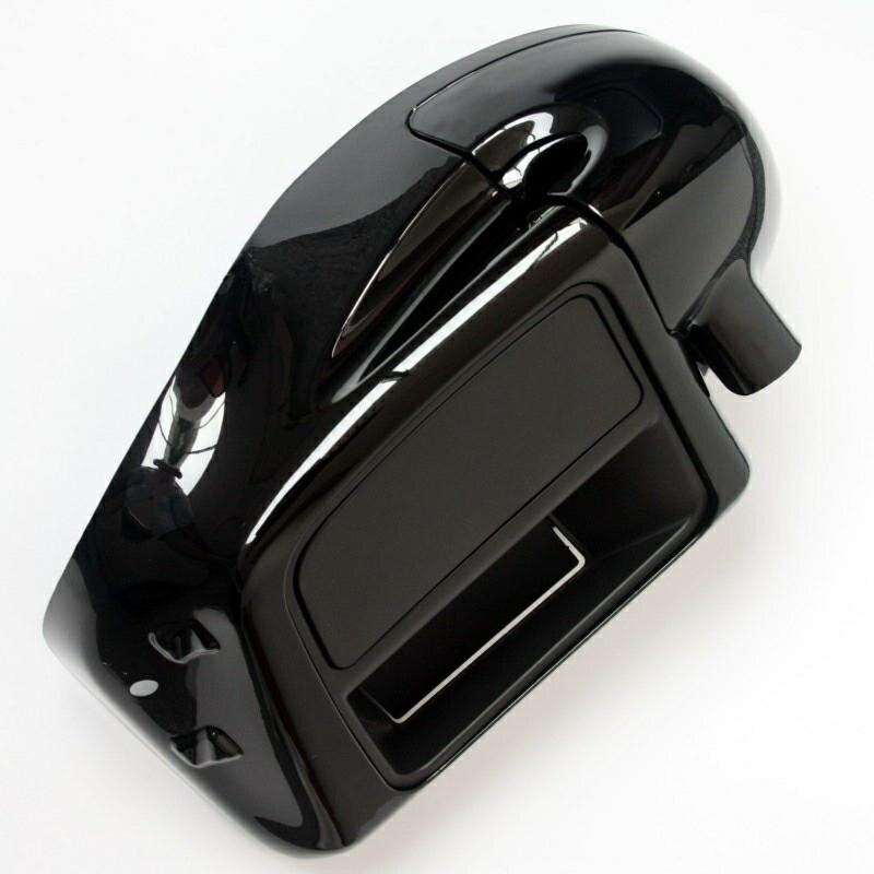 Vivid Black Lower Leg Warmer Vented Fairing Glove Box For Harley Touring Road King Street Electra Glide Ultra FLTR 2014-2018 17