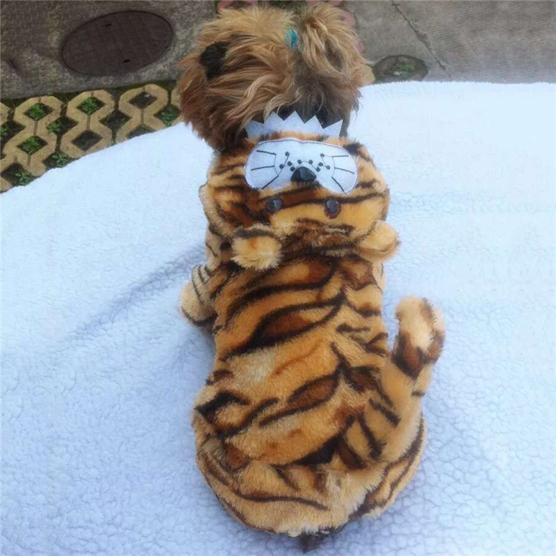 Velvet Fashion Autumn Winter Tiger Stripes Warm Dog Suit Dog Jacket Clothes With Hat Pet Coat For Cat Puppy Pet Supplies