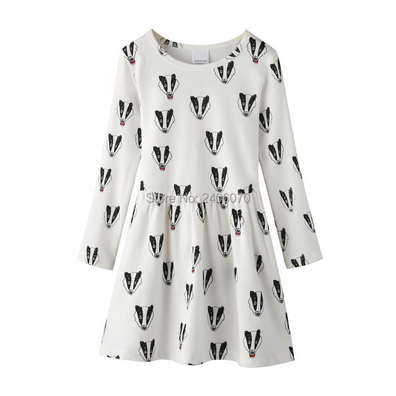 badger fox printed dress long sleeved offwhite Child Princess Costume ropa bobo choses new year Evening Winter girl clothing04