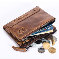 Real Cowskin Blocking Protection Anti Theft Men Biflod Short Wallet Zipper Coin Case Pouch Vintage Genuine Leather Money Purse
