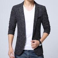 2017 Vestido Blazer Phù Hợp Với Nam Giới Jaqueta Masculino Màu Xám Đen Rắn Sơn Thông Minh Đơn Giản Dị Nút Đầy Đủ Thường Xuyên Người Đàn Ông Lanh Blazer