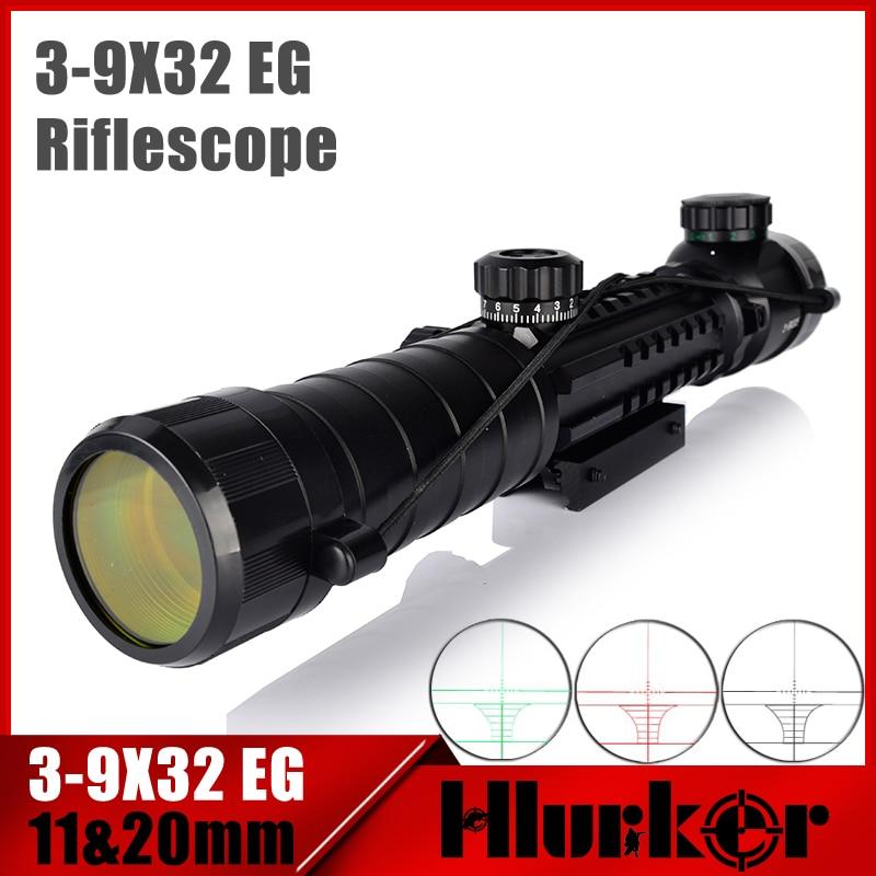 HLURKER 3-9x32 EG Tactical Scope Red /Green Dot Illuminated Sight Sniper Monocular Scopes 11mm/20mm For Air Gun Hunting