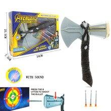 Thor Odinson Cosplay Props Kids Kind Wapens Plastic helden van de storm LED Bijl 34 CM Speelgoed Gift Kleur box verpakking