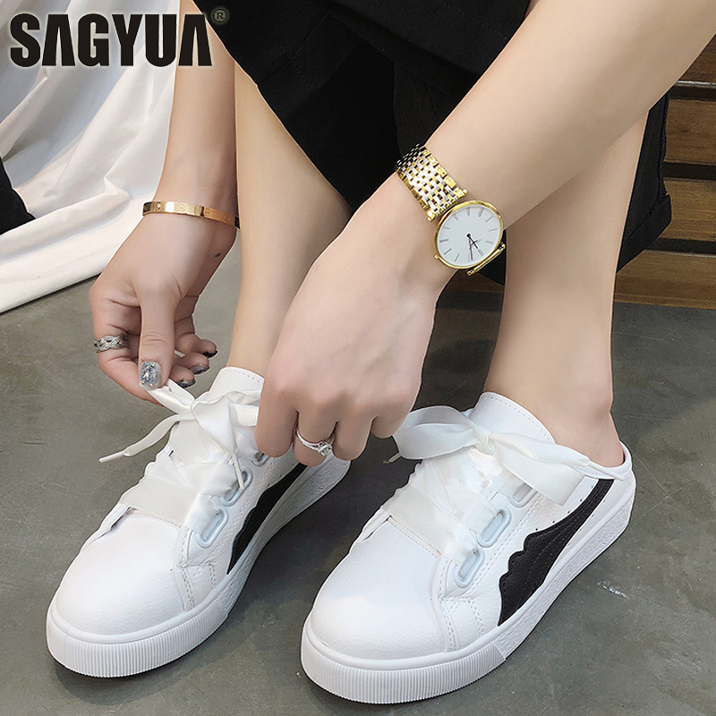 HOT Women Students Casual Lace Shallow Lace Up Comfort Soft Zapatillas Heelless Flat Solf Board Shoes Loafers Half Slippers T631