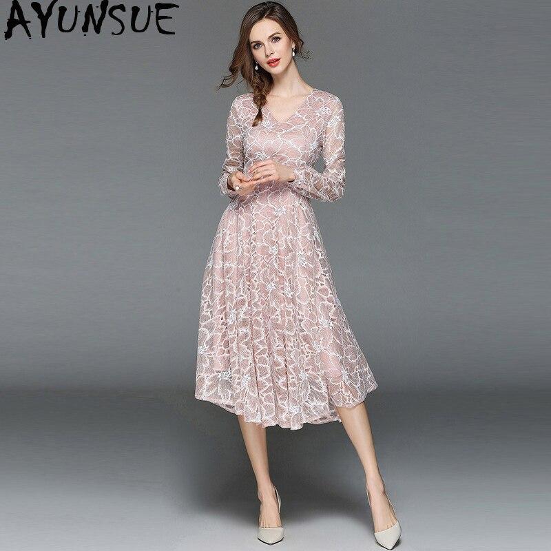 ac839045fe5 Soirée My2512 Pink Femmes Maxi Automne Pour Élégante Vêtements Femme Rose  Robe 2019 Robes Sexy Fête Printemps Dentelle Vintage ...