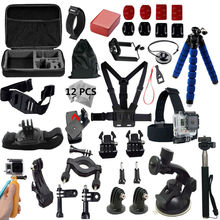 Gopro accesorios go pro kit de montaje para sj4000 gopro hero5 4 3 2 negro edición sjcam sj5000 cámara caso xiaoyi pecho trípode