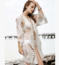 Swimwear Cover Up Women Swim Dress Pareos Bath Robe Beach Ups Summer Tunics Clothes Outside Hollow Perspective Back Lace Crochet