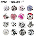 2017 New Big Hole Charms Beads DIY Jewelry Fits Pandora Charms Bracelets Necklace Mix Style Optional Red Apple / Pink Flower