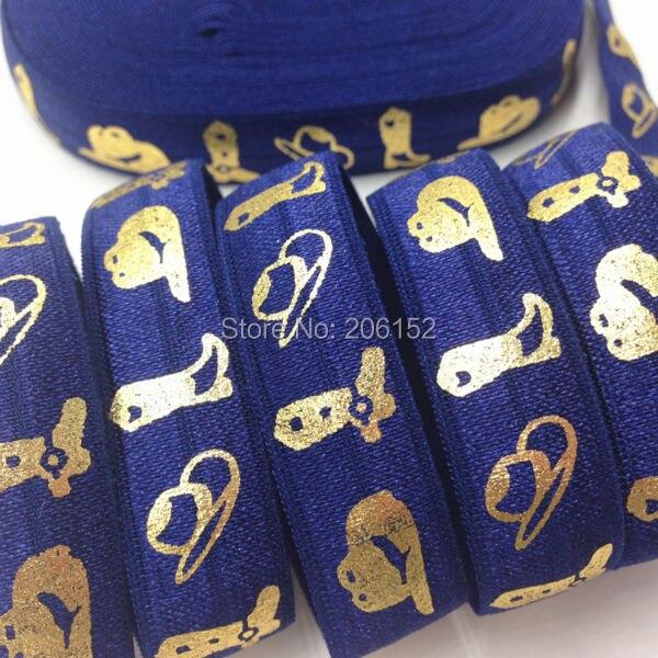 5/8 Cowboy Hat Printed Fold Over Elastic Ribbon Cowboy Boot Print Navy Blue FOE Ribbon W ...