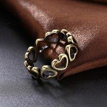 GOMAYA 2018 Zinc Alloy Hollow Heart Ring Ancient bronze Color Love Wedding Rings for Women Men Creativity Full Heart Set Jewelry retro rose style zinc alloy ring for women bronze