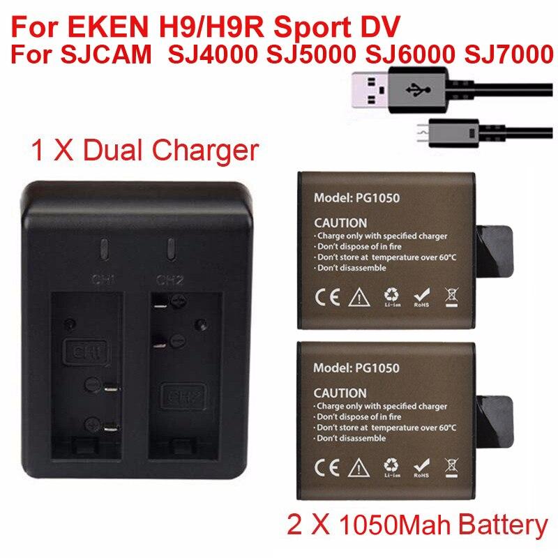 2 unids 1050 mAh batería chargerable + cargador doble para eken H9 H9R H3 H3R H8PRO H8R H8 pro sjcam SJ4000 SJ5000 SJ6000 SJ7000 GP1050