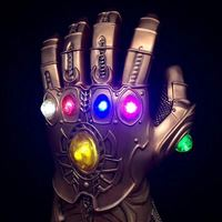 Very cool 1:1 Marvel Avengers Infinity War Infinity Gauntlet LED Light gemstone Thanos Gloves model Action Figure Cosplay party