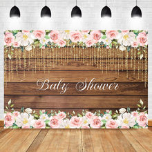 NeoBack Fabric Rustic Floral Wooden Backdrop for Baby Shower Studio Photography Pictures Brown Wood Floor Flower Wall Background(China)