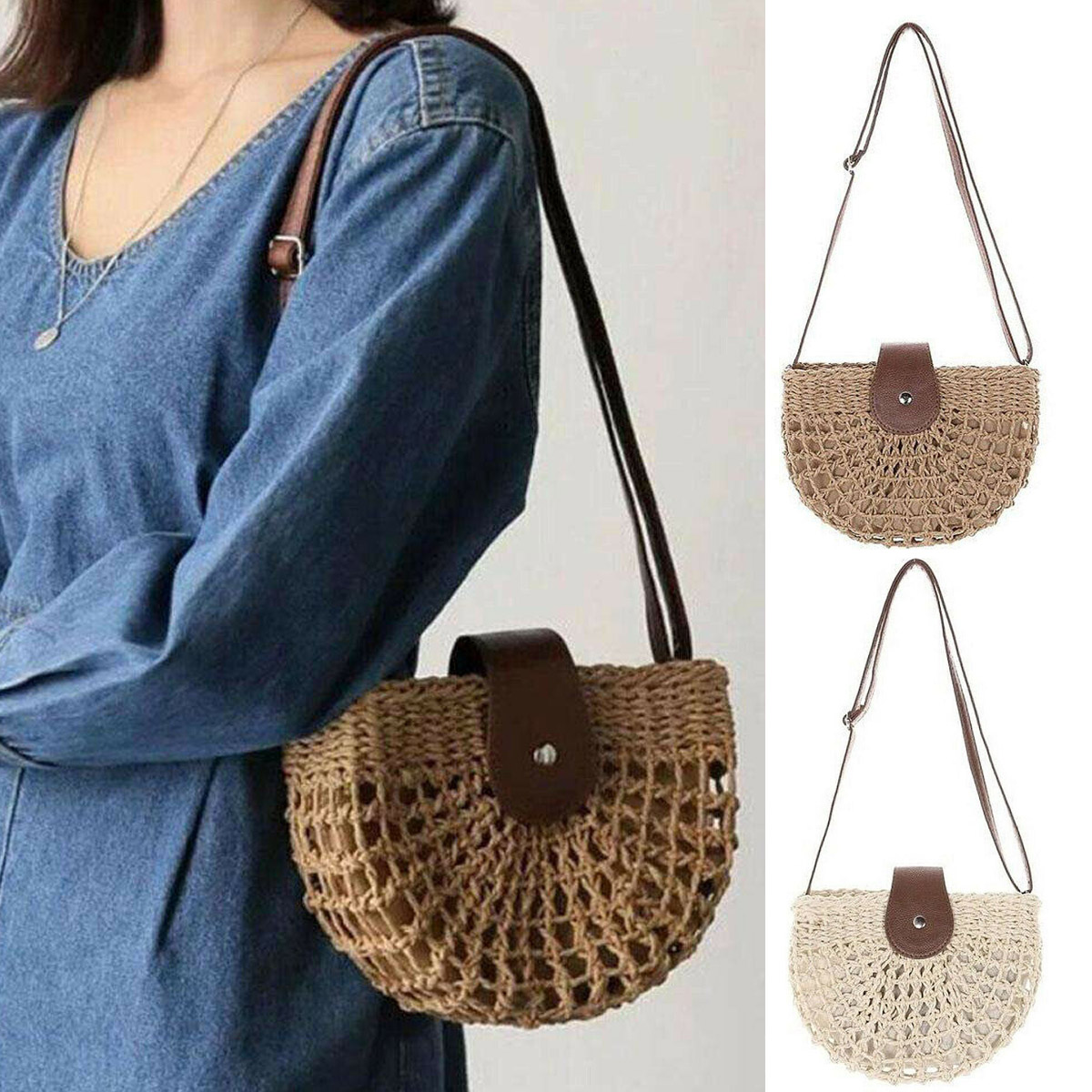 Women S Bags Handbags Clothing Shoes Accessories Fashion Women Straw Bag Beach Rattan Shoulder Wicker Weave Crossbody Handbag Us Myself Co Ls
