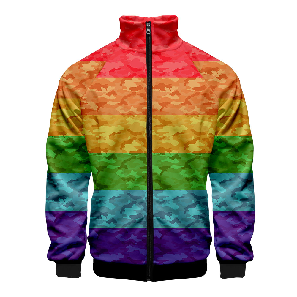 Men's Jacket Pride Lgbt Gay Love Lesbian Rainbow Design Print Bomber Jacket Personality Brand Clothing 2019 Autumn And Winter
