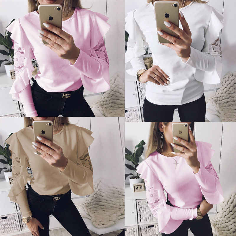 New Style Fashion Autumn Women Ladies Lace Longsleeve T-shirt Round Neck Shirt Casual Solid Loose Tops