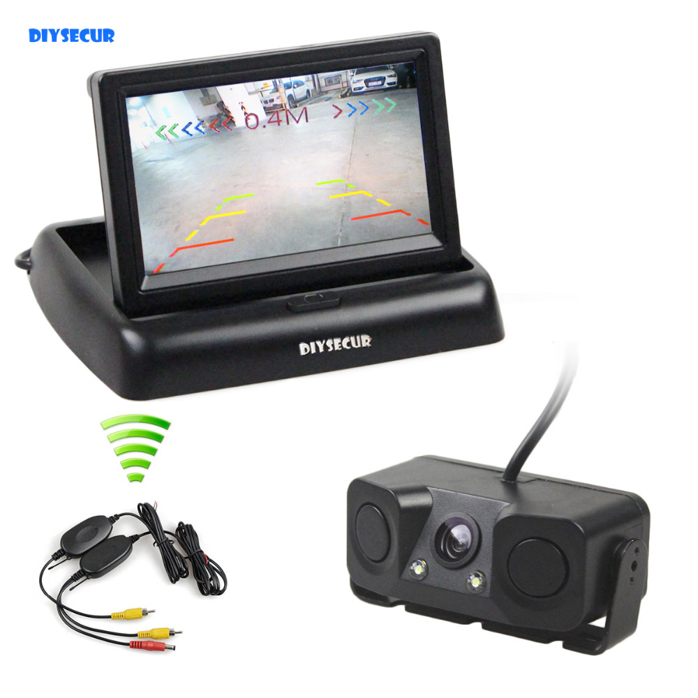 DIYSECUR 4.3 Polegada Revertendo Kit Câmera Do Carro Sem Fio Backup Câmera Do Carro Monitor Do Carro Sensor De Estacionamento Radar 2 em 1 sistema de estacionamento
