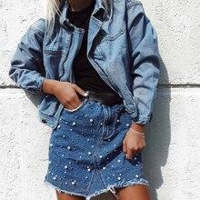 FREE SHIPPING !! Women High Waist Denim Pearl Skirts JKP970