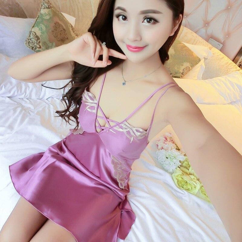 Foply Satin Silk Nightwear Women Nightgowns Sexy V-neck Sleepwear Sleeping Dress Red Nightdress 2018 Summer Pijamas Night Dress